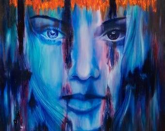 "10x10"" fine art print painting, blue female face, abstract, colourful texture, original Irish art, tribal beauty, gift, digital, oil, woman"