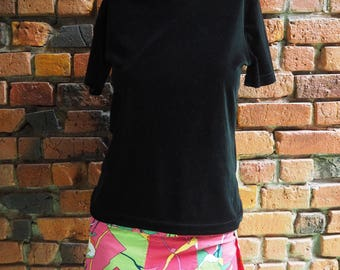 Women's 90s Bright Pink Floral Hipster Pleated Pleat Mini Skirt Size Small Medium