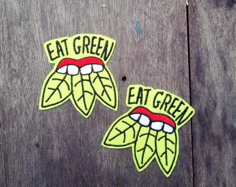 Eat Green Vegan - Embroidery Iron on patch