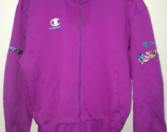 Vintage Champion Sweater Bright Color Fully Zipper Track Jacket Streetwear Authentic American Athletic Apparel Size L Large Medium