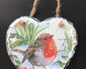 Natural Slate Heart Hanger - Christmas Robin