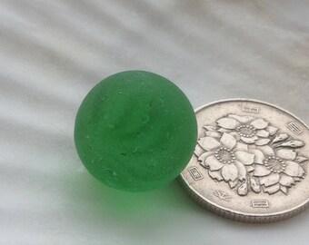 Rare Japanese sea marble, genuine sea glass, beach glass, sea glass marble, green (no.589)