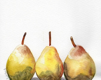 yellow PEARS fruit Fine art Print FROM original watercolor by Jennifer Redstreake