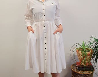 80s Longsleeve Western Button Up Day Dress, Vintage White Day Dress