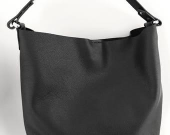Black Leather Hobo, Black Leather Handbag, 100% Leather, Handmade, Travel Bag, Shopping Bag