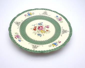 """Beautiful Vintage Royal Cauldon Made in England """"Niagara"""" Dinner Plate Shabby Chic Green Floral Cottage Chic Decor"""