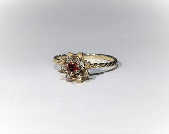 10K Yellow Gold Diamond Ruby Cocktail Ring Size 6.5