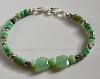 Chrysoprase Bracelet~ Natural Chrysoprase and Sterling Bracelet~ Natural Stone Bracelet~ Summer Jewelry~ Gift Ideas for Mom