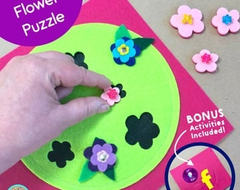 Flower Puzzle Quiet Book Page for TinyFeats BusyBook- Best Preschool Educational Toys - Early Childhood Development- Advanced Shapes Puzzle