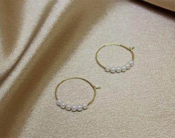 SIMPLE PEARL HOOP Earring, Hoop Earring, Pearl Earring, Handmade Earring, Gold Hoop Earring