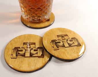 F1 Coaster Set - Hand Made Laser Engraved Auto Racing Coasters - Perfect Gift for Formula 1 Fan - Open Wheel Racing Coasters - Racing Decor
