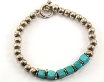 Vintage Bead Beaded Turquoise Toggle Bracelet 925 Sterling BR 1528-E