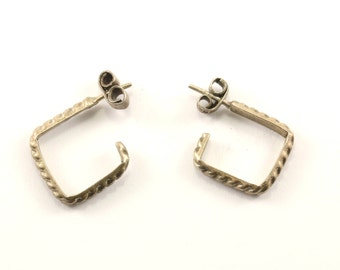Vintage Square Cable Stud Earrings 925 Sterling Silver ER 903