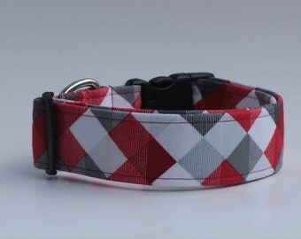 Red, Black and Grey Diamonds Dog Collar