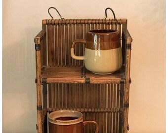 Wicker Wood Shelf | Vintage Wicker Wall shelf | Wicker Wall Shelf | Brown Wall Shelf