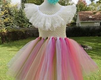 Girls princess dress, birthday dress, White and pink tutu, princess dress, flower girl, child costume,Rainbow dress, Age 6-7 year old.
