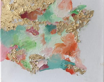 Rise Series #4: Original Multicolor Abstract Oil Painting w/ Gold Leaf