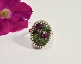 Sterling Silver Ring with A Large Green Ruby Stone