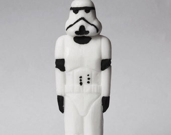 Stormtrooper carved candles, pillar candle, candle, cut candle, figure candle, handmade cut candles, carved candles, interesting