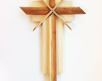 Wooden Cross in Spruce and Spalted Cherry