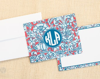 Red, White, & Blue Damask Notecards and Envelopes - Monogram Stationery - Preppy Stationery - Monogram Notecards - Personalized Stationery