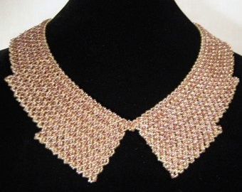 Champagne & violet beaded collar necklace