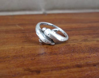 925 Sterling Dolphin Pinky or Child's Ring - Size 4 - Vintage