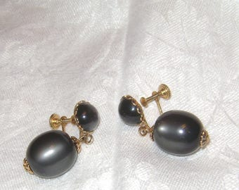 vintage 1950s pair of Gray MOON GLOW Dangle Screw Back Earrings - Gold Plated