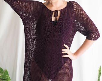 vintage mesh crochet mini dress deep purple