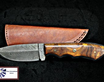 Hand forged knife, Damascus knife, Drop- Style blade, Black Walnut Scales Hunting knife by Titan Td-410