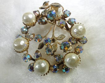 Glorious Faux Dimpled Pearl Layer Riveted Green and Blue Aurora Borealis Rhinestone Brooch