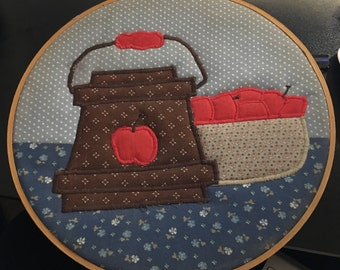 Vintage Decorated Embroidery Hoop Apples and Bushel