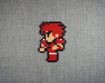 Fighter, Final Fantasy, NES, Square – Bead Sprites – Video Game Perler – 8-bit Pixel Art – Kawaii Geek Gift
