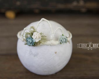Newborn Tiara // Photo Prop // Floral Crown // Newborn // Photography // Rustic // Floral