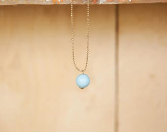 Tiny ball pendant necklace, Light blue & gold necklace, Tiny pendant necklace, Simple gold necklace, Long necklace, Gold dainty necklace