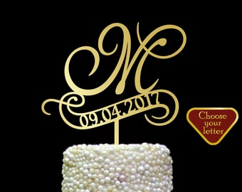 m cake topper, cake toppers for wedding gold, Wedding Cake Topper date, Letter Monogram or Custom, letter cake topper, Cake Topper m, CT#126