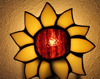 Stained Glass Sunflower, Christmas Stocking, Christmas Tree, and Lighthouse Night Light