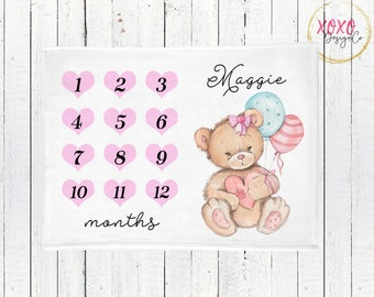 Monthly Milestone Blanket / Teddy Bear Blanket / Pink Bear Baby Blanket / Teddy Bear Baby Shower Girl / Baby Blanket Personalized Girl Gifts