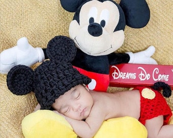 2 Pcs Mickey Mouse baby crohet,outfits, hat +pants, Photopros, Photographers,babyboys,Baby