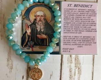 Gold Filled 18k St Benedict Medallion with Bracelet