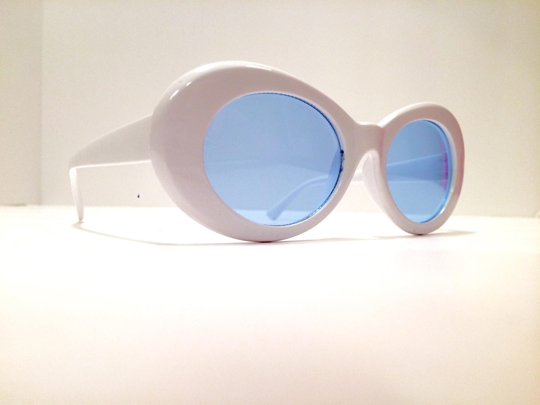 99d2f00ec4 White Blue Vintage Kurt Cobain Sunglasses Mens Sunglasses Men Womens  Sunglasses Women Round Oval Retro 90s