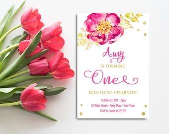 Rosa Und Gold Ersten Geburtstag Einladung Mädchen, Instant Download, Floral  Pink Gold Laden,