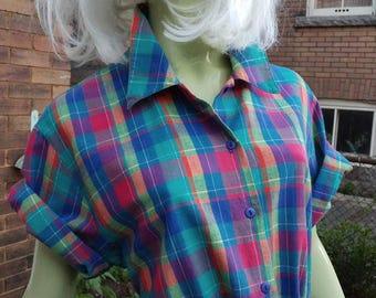 1980s Vintage Summer Plaid  Boxy Button-down Blouse Plus Size
