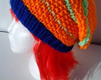 Loose orange and blue green cap