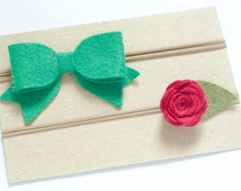 Christmas Headband Set, Felt Bow Headband, Felt Rose Headband, Green Baby Bow, Red Flower, Baby Girl Bows, Wool Blend Felt, Christmas Bow