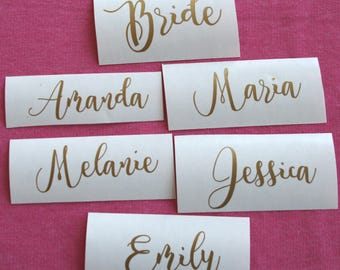 Custom name decal/ Wine Glass DIY Decal/ Personalized Custom Yeti Decal/ Bridesmaid Gift Gold Name Decal/ Wedding Sticker Bachelorette party