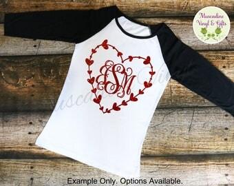 Heart Framed Vine Monogram Raglan T-shirt , Glitter or Matte Options, Valentine Monogram, Heart Monogram Tee