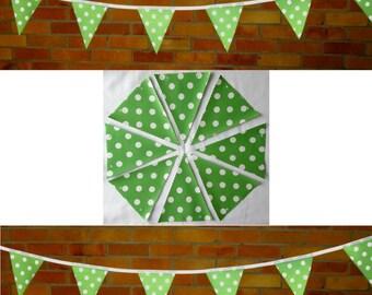 Green White DOTTY BUNTING / Garland - PVC / Oilcloth - 3 Metres +