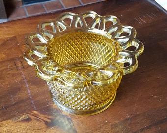 1950's Imperial Glass LACE EDGE #749 Honey Amber Rose Bowl Vase
