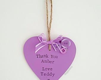 Thank You plaque - Heart Keepsake - Teacher Thank You Gift- Teacher present - Gift from Pupil - Hanging Heart - Home Decor